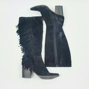 JustFab black suede tassle boot size 11